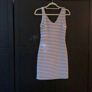 Striped Aqua Bodycon dress. Size L.